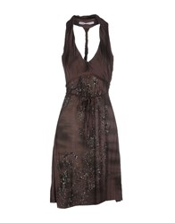 Fairly Dresses Knee Length Dresses Women Dark Brown