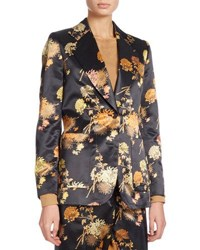 Dries Van Noten Blunt Floral Print Satin Blazer Black