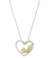 Macy's Aspca Tender Voices Diamond Cat Heart Pendant Necklace In 10K Gold Plated Sterling Silver 1 10 Ct. T.W.