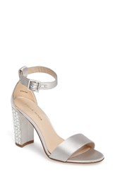 Pelle Moda Women's Bonnie 3 Embellished Ankle Strap Sandal Silver Leather