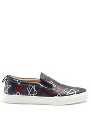 Guccighost Print Slip On Leather Trainers Blue Multi