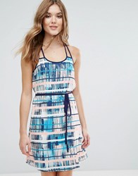 Lavand Printed Belted Dress With Racer Back Multi