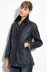 Women's Barbour 'Beadnell' Waxed Cotton Jacket Navy