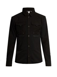 7L Mid Layer Contrast Panel Overshirt Black