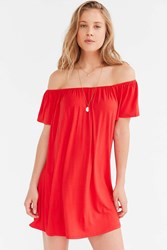 Silence And Noise Silence Noise Off The Shoulder Swing Dress Bright Red
