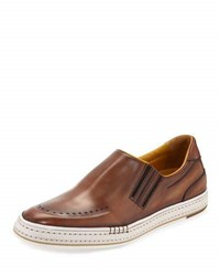 Berluti Calf Leather Slip On Sneaker Bourbon
