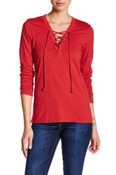 Joe's Jeans Amora Lace Up Tee Red