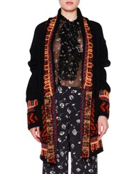 Etro Open Front Embroidered Oversize Cardigan Black Multi