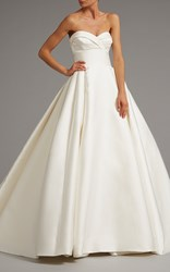 Elizabeth Kennedy Draped Bodice Gown With Full Skirt White