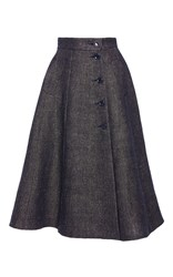 Martin Grant A Line Denim Tweed Wrapped Skirt Blue