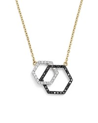 Bloomingdale's White And Black Diamond Geometric Pendant Necklace In 14K Yellow Gold 17 Black White