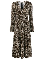 Michael Michael Kors Cheetah Pattern Midi Dress Brown