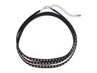 Steve Madden Suede Wrap Around W Metal Ball Stud Choker Necklace Black Necklace