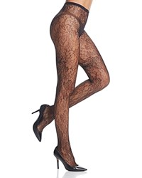 Calvin Klein Floral Net Tights Black