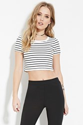 Forever 21 Striped Crop Top White Black