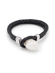 Majorica 18Mm X 14Mm Organic Ovalhandcrafted Pearl And Leather Bracelet White