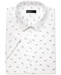 Bar Iii Men's Slim Fit Paper Airplane Print Short Sleeve Dress Shirt Only At Macy's White