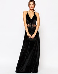 Jarlo Siobhan Velvet Maxi Dress With Lace Insert Blackvelvet