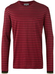 Lanvin Long Sleeve Breton T Shirt Red