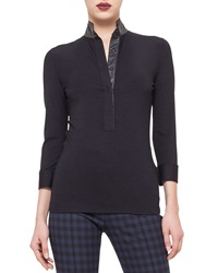 Akris Punto 3 4 Sleeve Button Front Blouse Black