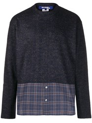 Junya Watanabe Man Checked Panel Jumper Blue