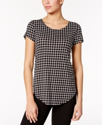 Alfani Plaid T Shirt Only At Macy's Open Grid Black White