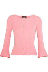Boutique Moschino Ribbed Cotton Cardigan Pink