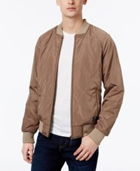William Rast Men's Zane Engineered Quilted Bomber Jacket Fossil