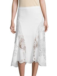 Jonathan Simkhai Lace Applique Flared Skirt White