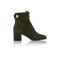 Suede Snap Tab Ankle Boots Military