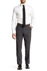 Louis Raphael Plain Weave Plaid Tailored Pant Gray