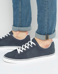 Pull And Bear Perforated Sneakers In Navy With White Sole Navy