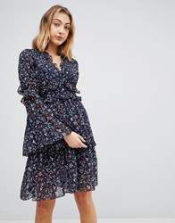 Walter Baker Dianna Floral Print Layered Dress Navy Floral