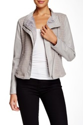 Blanc Noir Textured Front Pleather Sleeve Jacket Gray