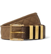 Balmain 3.5Cm Brown Canvas And Leather Belt Brown