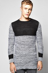 Boohoo Panelled Sweater In Mixed Colour Black