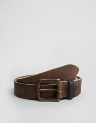 Asos Wide Brown Leather Belt With Vintage Finish And Contrast Keeper Brown