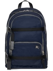 Burberry Large Ekd Aviator Nylon Backpack Blue