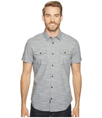 Calvin Klein Jeans Cross Hatch Slub Button Down Shirt Blackened Pearl Men's Short Sleeve Button Up Gray