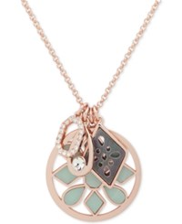 Ivanka Trump Rose Gold Tone Stone And Crystal Multi Charm 38 Slider Pendant Necklace Green