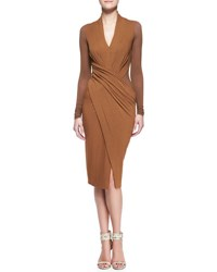 Donna Karan Cool Jersey Draped Long Sleeve Dress Brandy