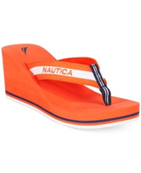 Nautica Women's Groveland Platform Wedge Flip Flops Women's Shoes Tropic Orange