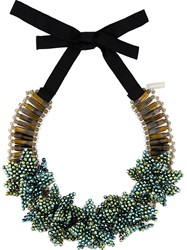 Night Market 'Deep Flower' Bib Necklace Green