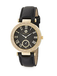 Adrienne Vittadini Pave Bezel Goldtone And Faux Leather Watch