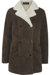 Vanessa Seward Earl Shearling Trimmed Suede Jacket Taupe Usd