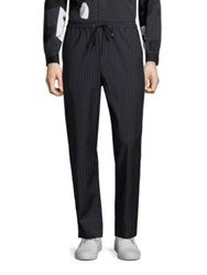 3.1 Phillip Lim Striped Wool Drawstring Trousers Navy