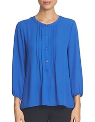 Cece Three Quarter Sleeve Pintuck Blouse Arctic Blue
