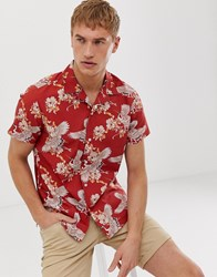 Selected Homme Revere Collar Shirt With All Over Bird Print In Red