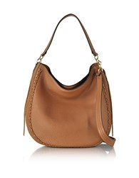 Rebecca Minkoff Almond Leather Unlined Convertible Hobo Bag W Whipstiching Brown