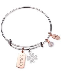 Unwritten Squad Hash Tag Charm Adjustable Bangle Bracelet In Two Tone Stainless Steel